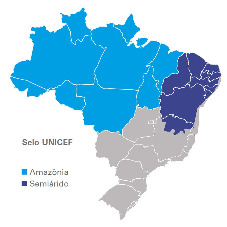 Um mapa do Brasil que destaca as áreas do Semiárido e da Amazônia Legal